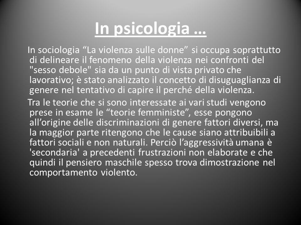 In psicologia …