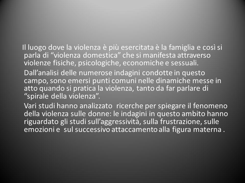 Il luogo dove la violenza è più esercitata è la famiglia e così si parla di violenza domestica che si manifesta attraverso violenze fisiche, psicologiche, economiche e sessuali.