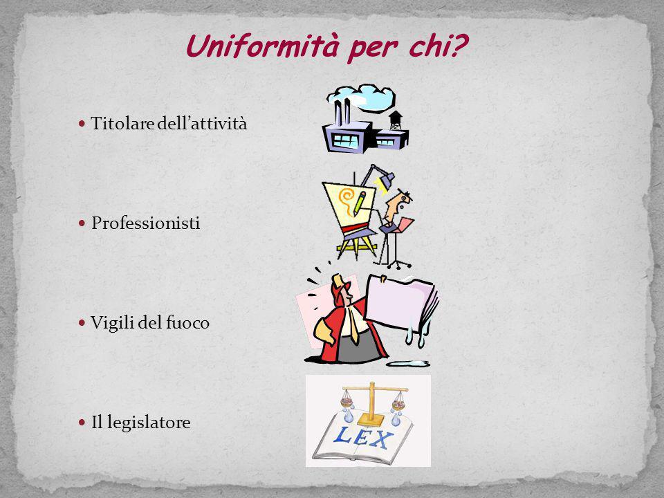 Uniformità per chi Titolare dell'attività Professionisti