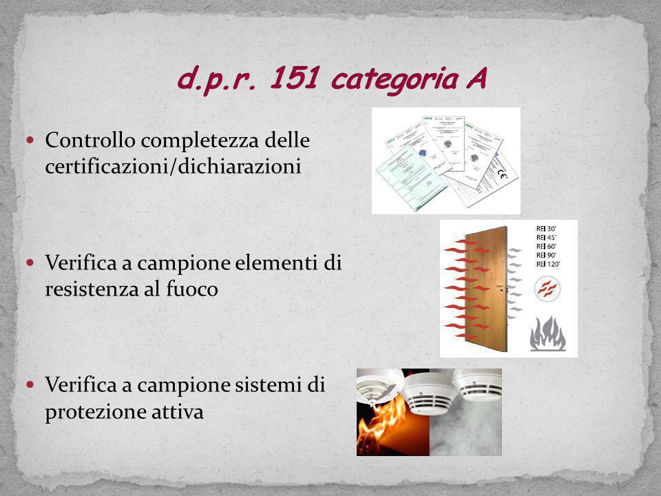 d.p.r. 151 categoria A Controllo completezza delle certificazioni/dichiarazioni. Verifica a campione elementi di resistenza al fuoco.