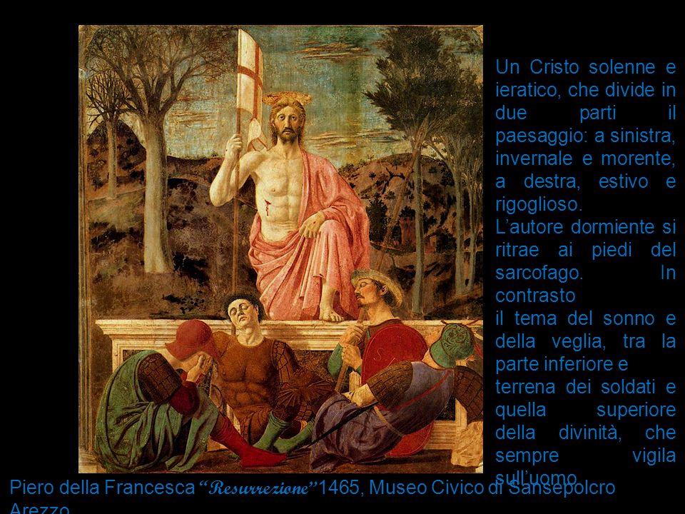 Un Cristo solenne e ieratico, che divide in due parti il paesaggio: a sinistra, invernale e morente, a destra, estivo e rigoglioso.