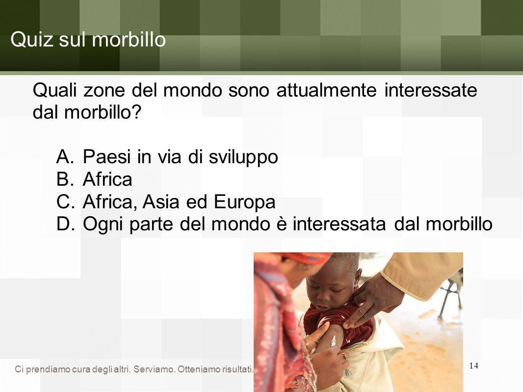 Quiz sul morbillo Quali zone del mondo sono attualmente interessate dal morbillo Paesi in via di sviluppo.