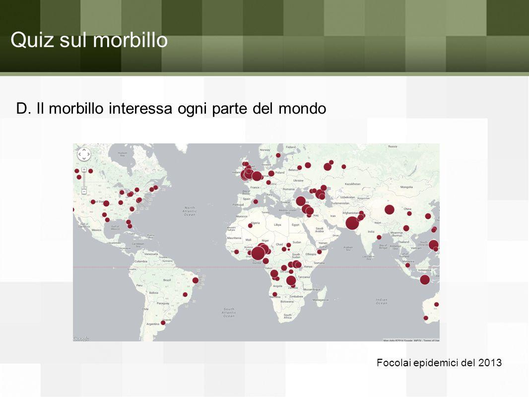 Quiz sul morbillo D. Il morbillo interessa ogni parte del mondo
