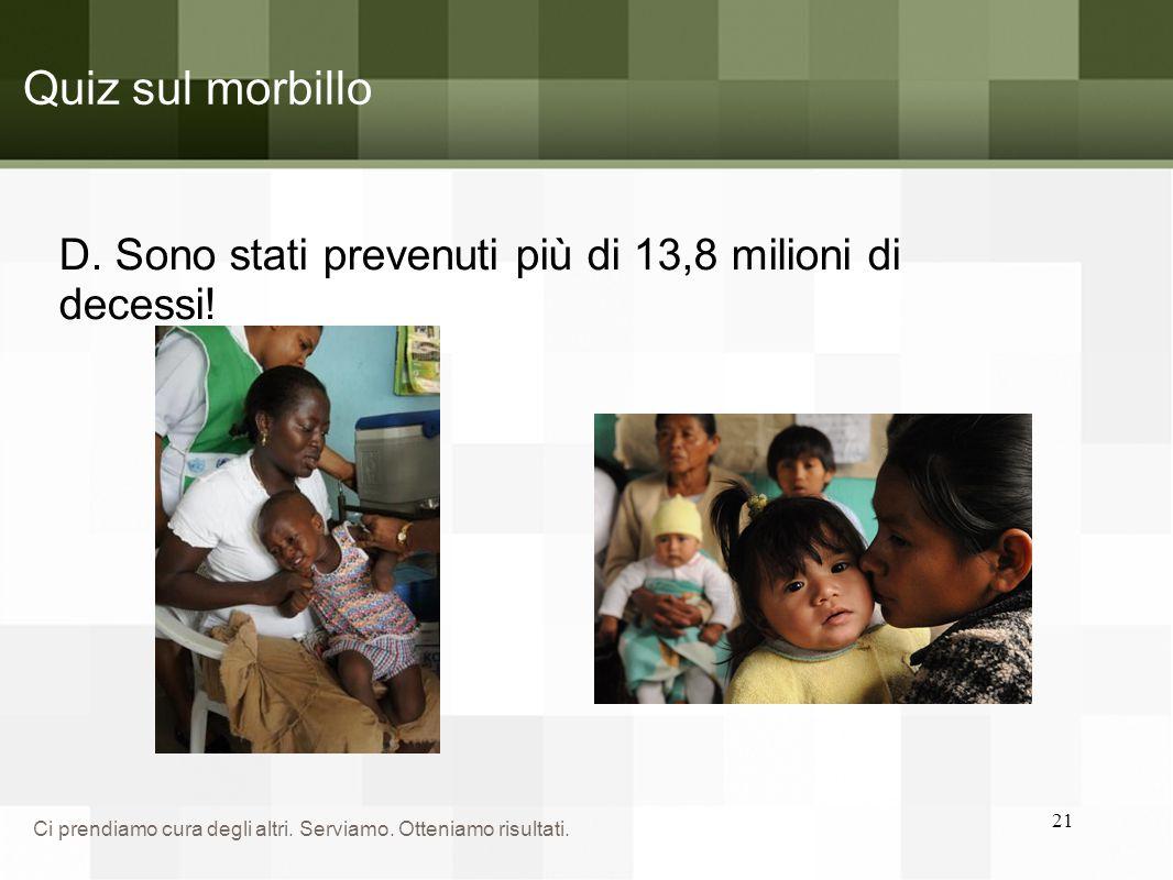Quiz sul morbillo D. Sono stati prevenuti più di 13,8 milioni di decessi!