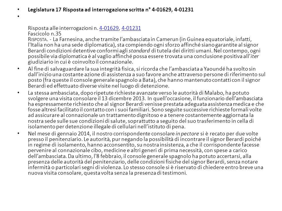 Legislatura 17 Risposta ad interrogazione scritta n° 4-01629, 4-01231