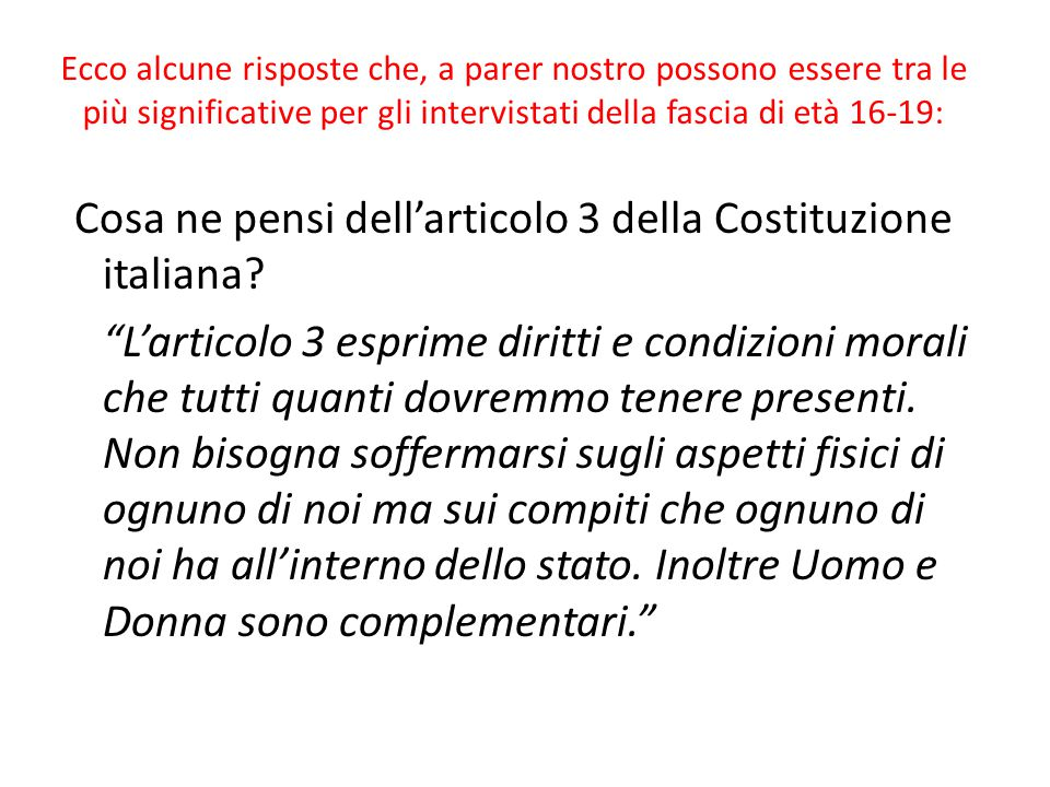 Cosa ne pensi dell'articolo 3 della Costituzione italiana