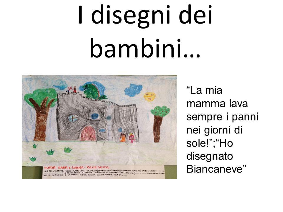 I disegni dei bambini… La mia mamma lava sempre i panni nei giorni di sole! ; Ho disegnato Biancaneve