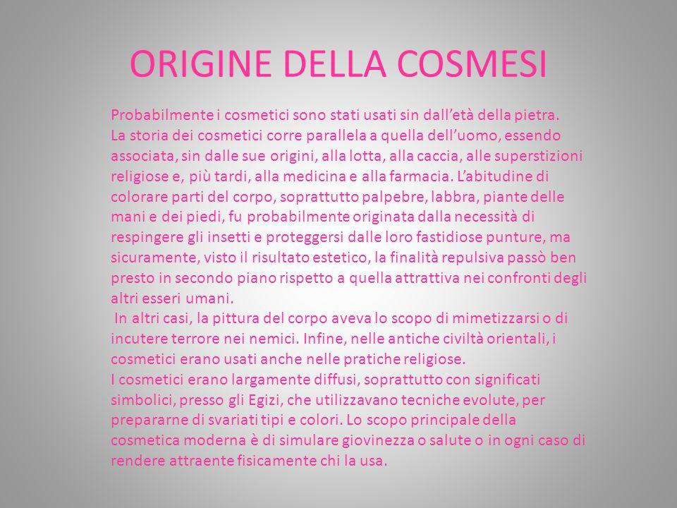 ORIGINE DELLA COSMESI Probabilmente i cosmetici sono stati usati sin dall'età della pietra.