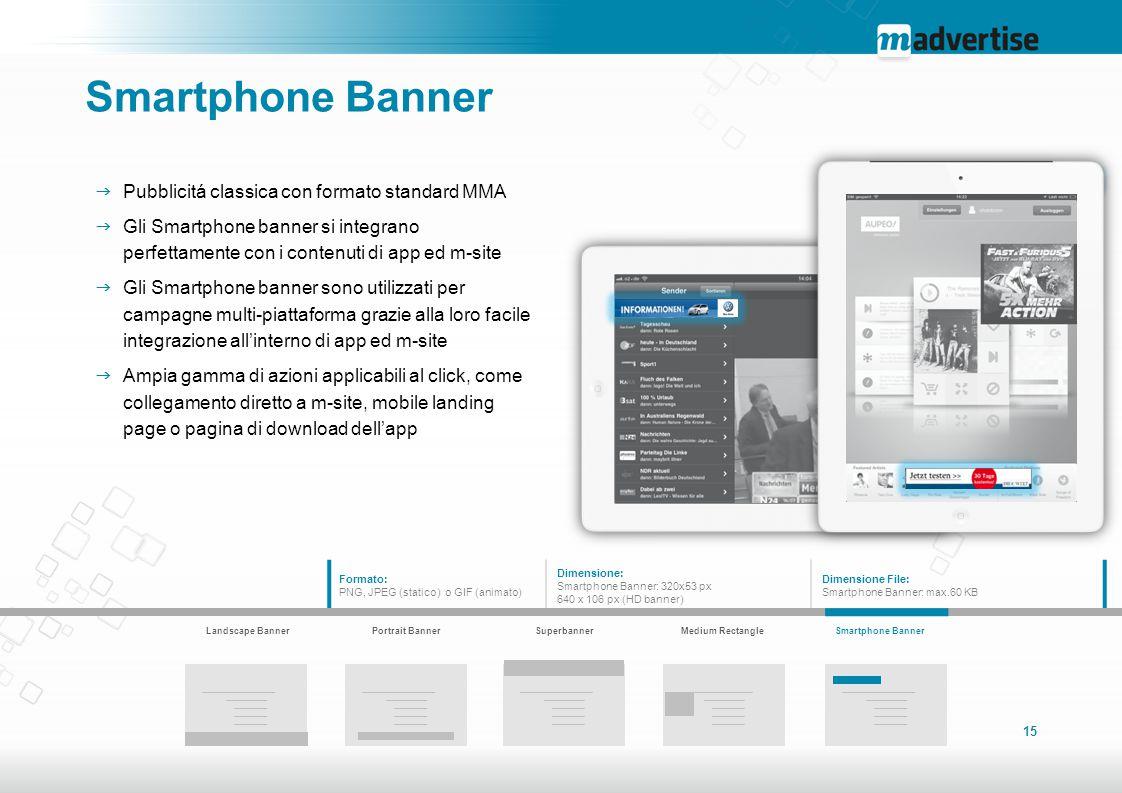 Smartphone Banner Pubblicitá classica con formato standard MMA