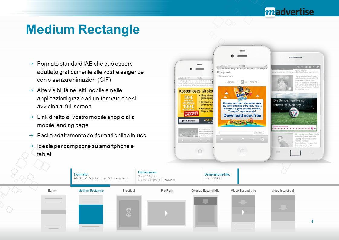 Medium Rectangle Formato standard IAB che puó essere adattato graficamente alle vostre esigenze con o senza animazioni (GIF)
