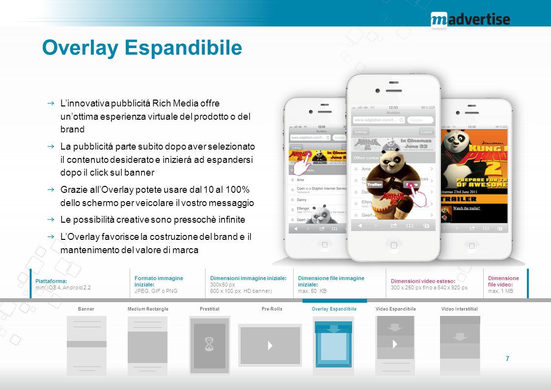 Overlay Espandibile L'innovativa pubblicitá Rich Media offre un'ottima esperienza virtuale del prodotto o del brand.