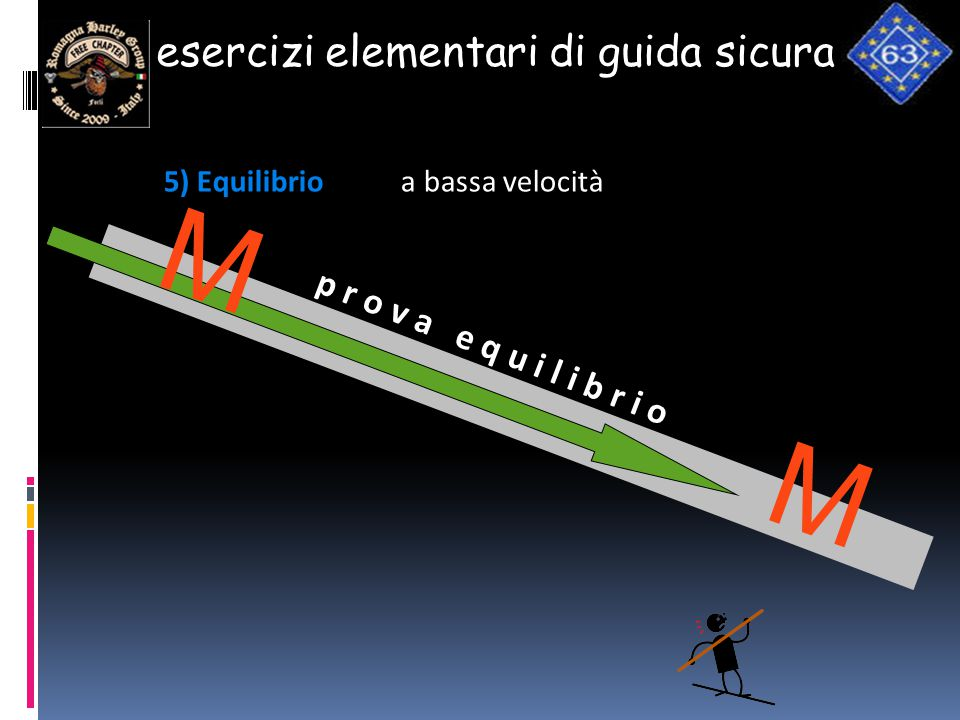 m m esercizi elementari di guida sicura p r o v a e q u i l i b r i o