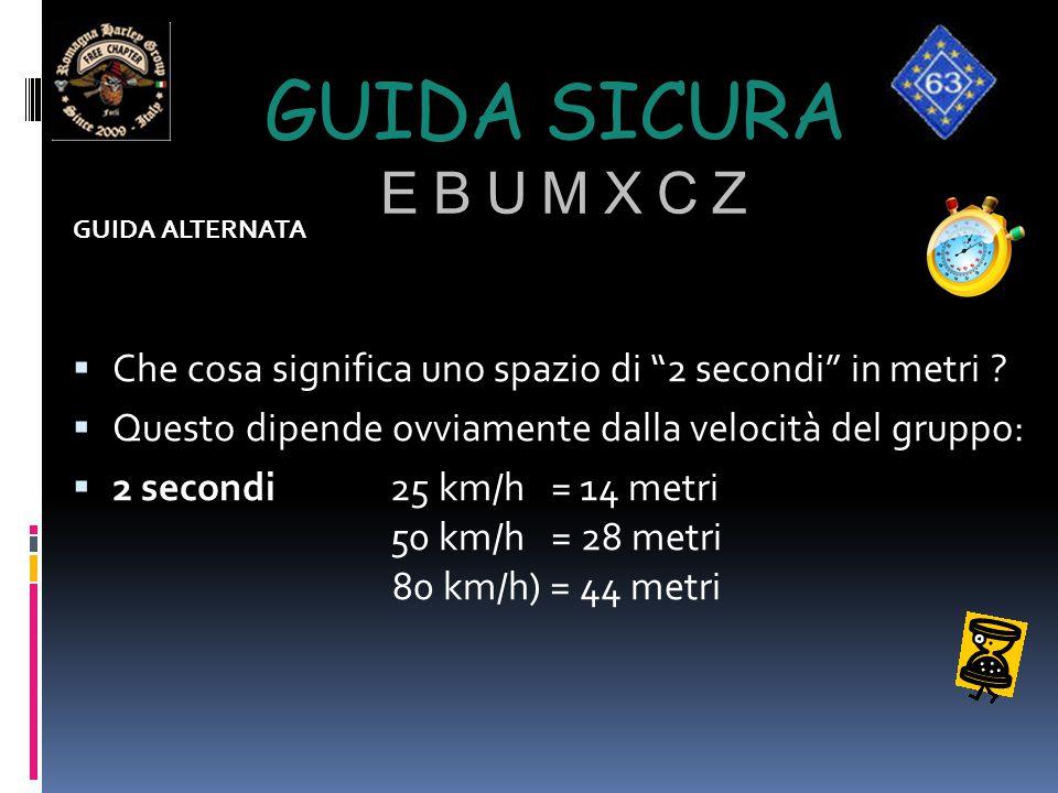 Guida sicura e b u m x c z GUIDA ALTERNATA. Che cosa significa uno spazio di 2 secondi in metri