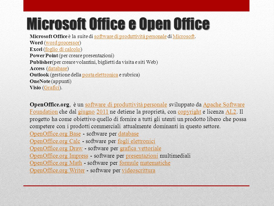 Microsoft Office e Open Office
