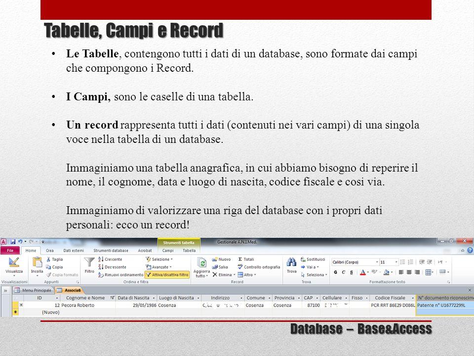 Tabelle, Campi e Record Database – Base&Access