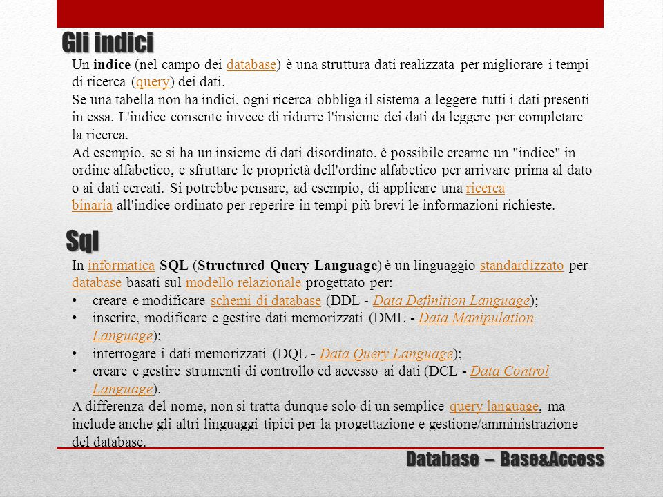 Gli indici Sql Database – Base&Access