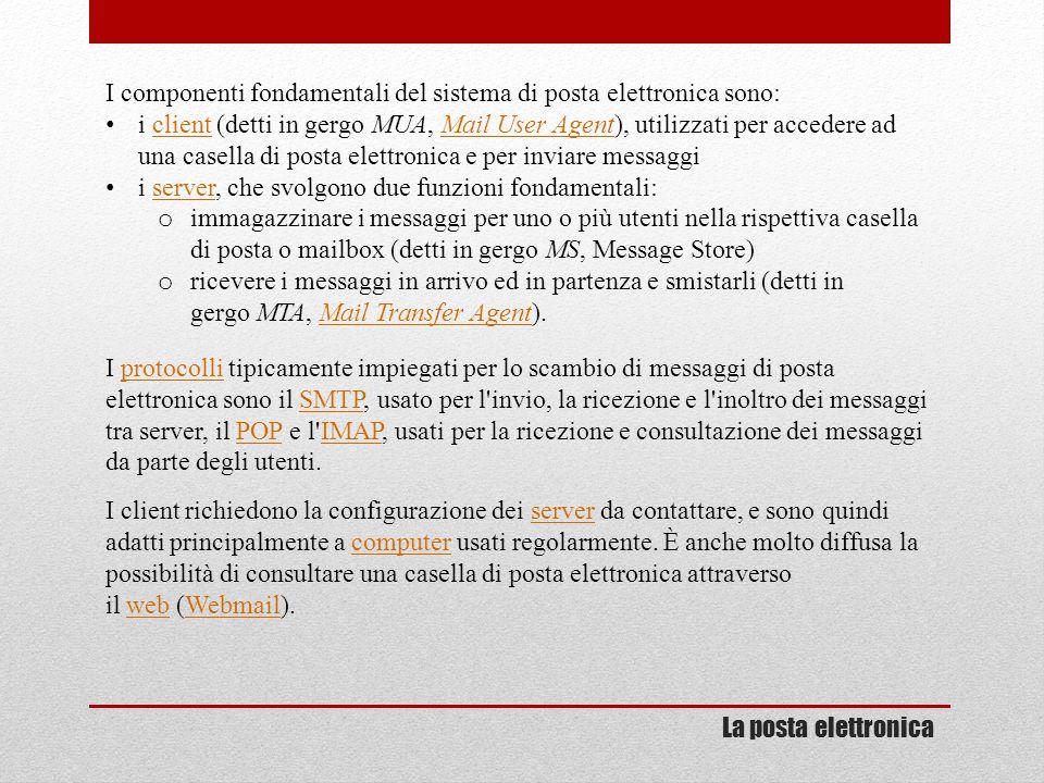 I componenti fondamentali del sistema di posta elettronica sono: