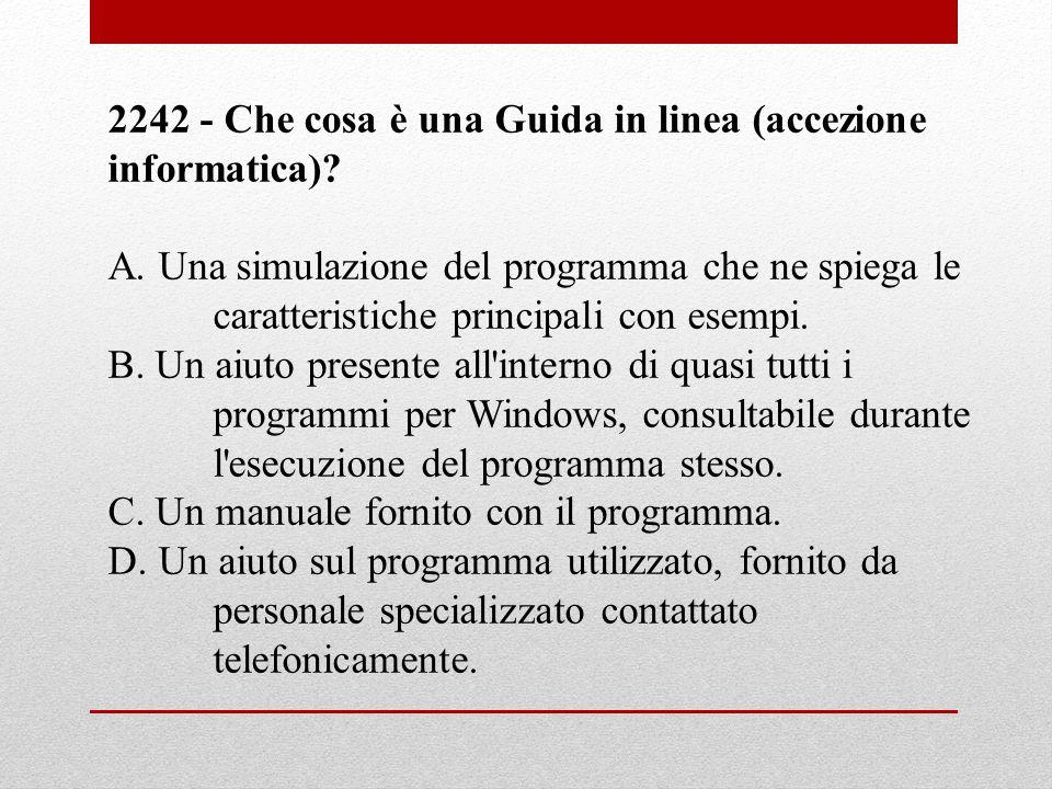 2242 - Che cosa è una Guida in linea (accezione informatica)