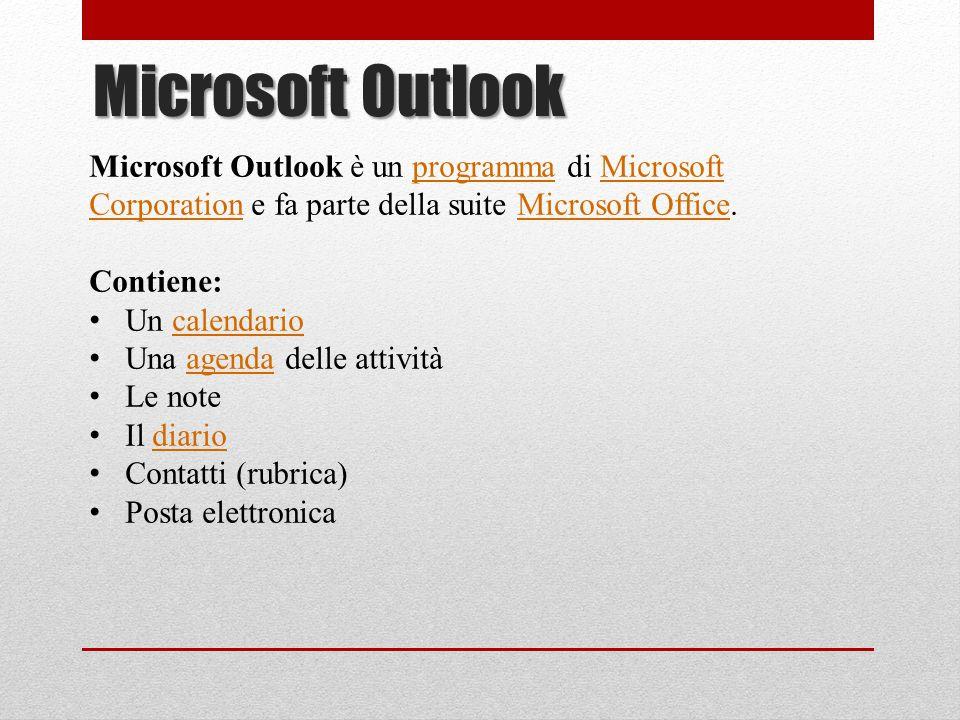 Microsoft Outlook Microsoft Outlook è un programma di Microsoft Corporation e fa parte della suite Microsoft Office.