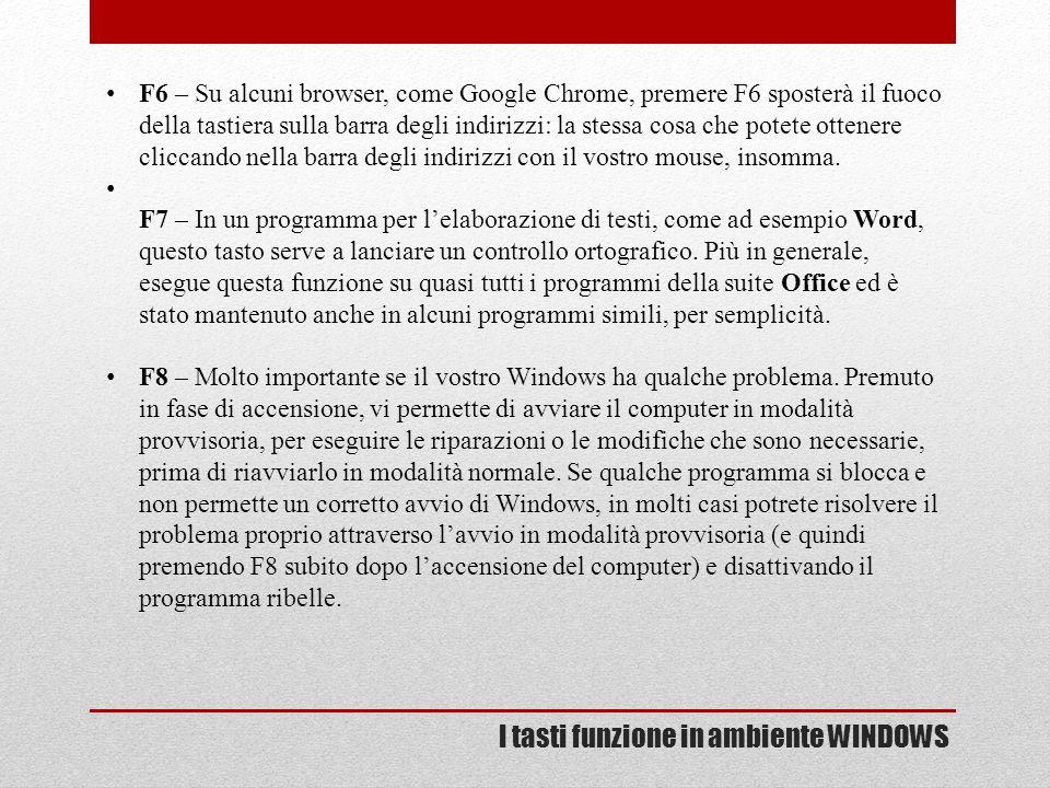 I tasti funzione in ambiente WINDOWS