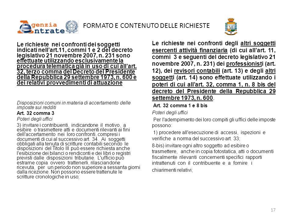 FORMATO E CONTENUTO DELLE RICHIESTE