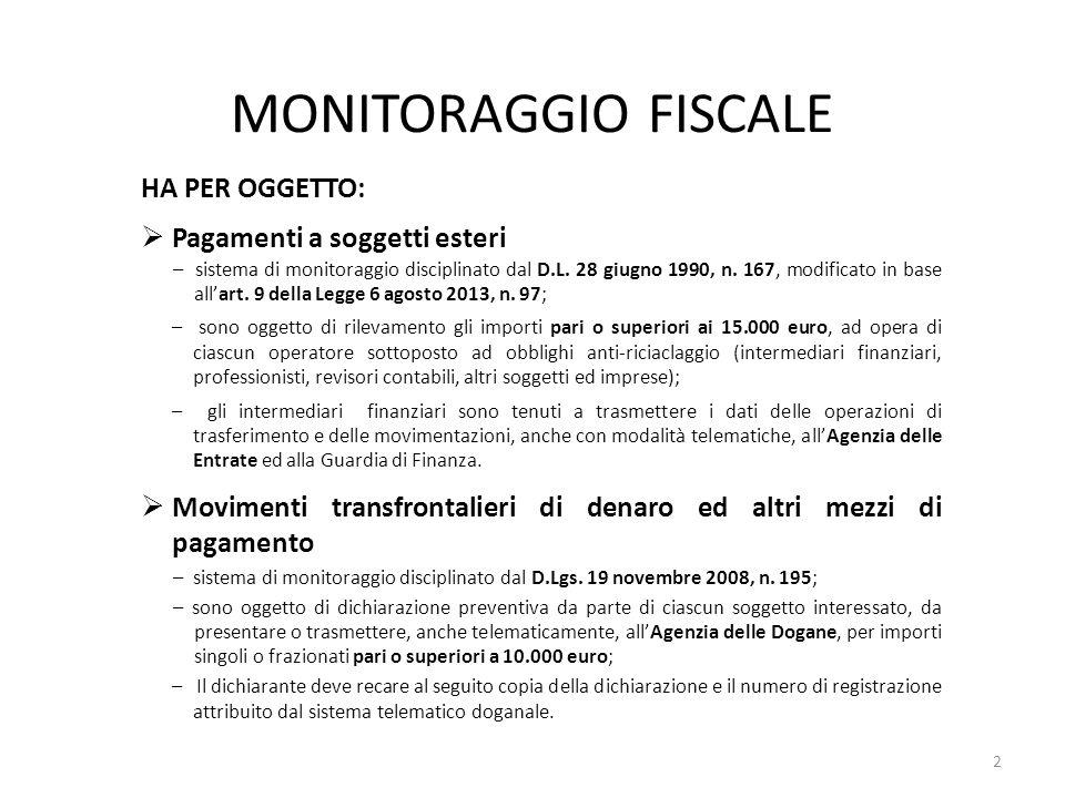 MONITORAGGIO FISCALE HA PER OGGETTO: Pagamenti a soggetti esteri