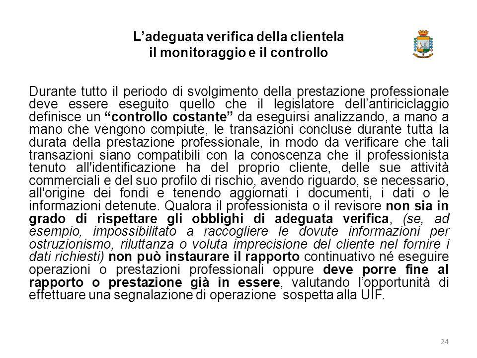 L'adeguata verifica della clientela il monitoraggio e il controllo