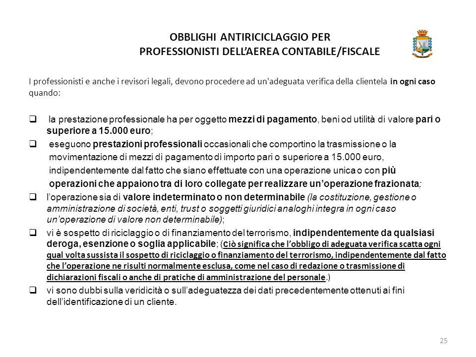 OBBLIGHI ANTIRICICLAGGIO PER PROFESSIONISTI DELL'AEREA CONTABILE/FISCALE