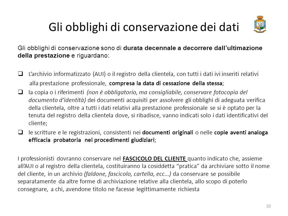 Gli obblighi di conservazione dei dati