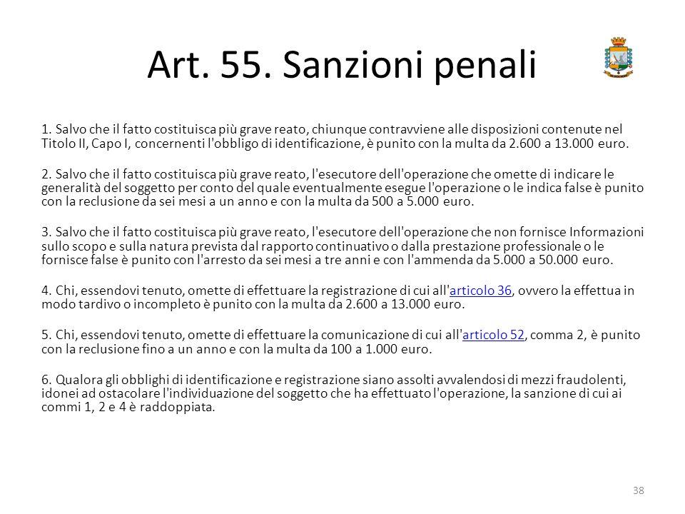 Art. 55. Sanzioni penali