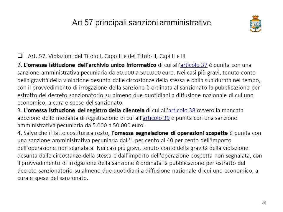Art 57 principali sanzioni amministrative