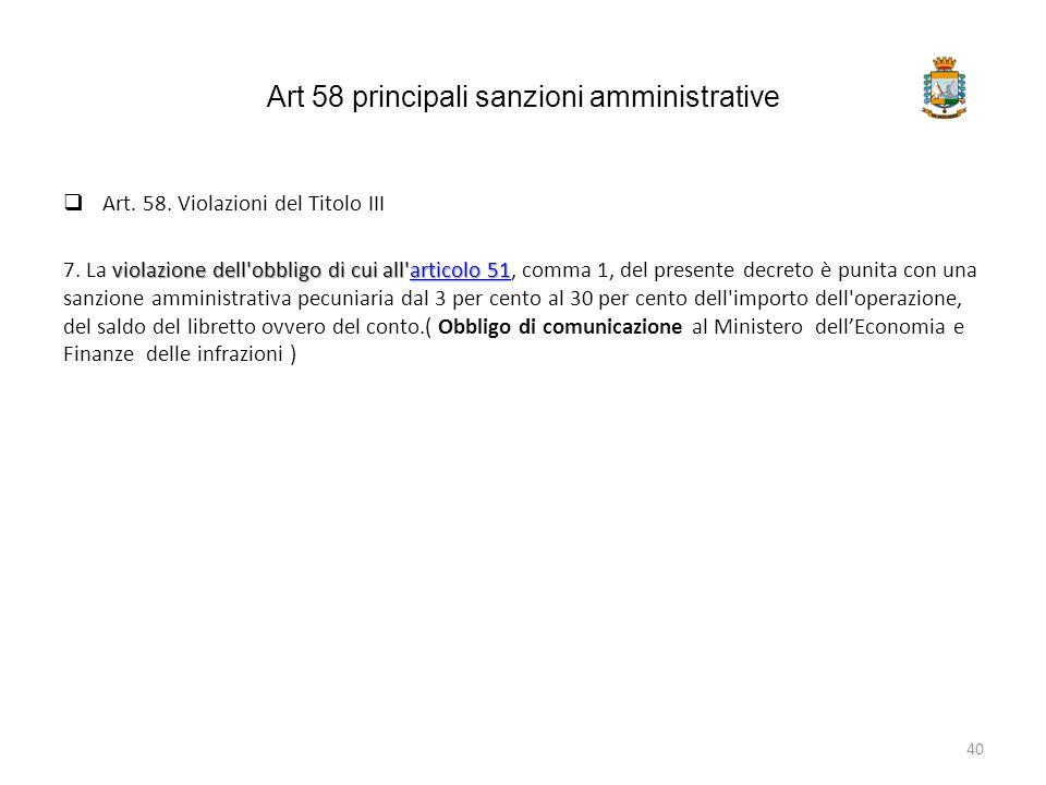 Art 58 principali sanzioni amministrative