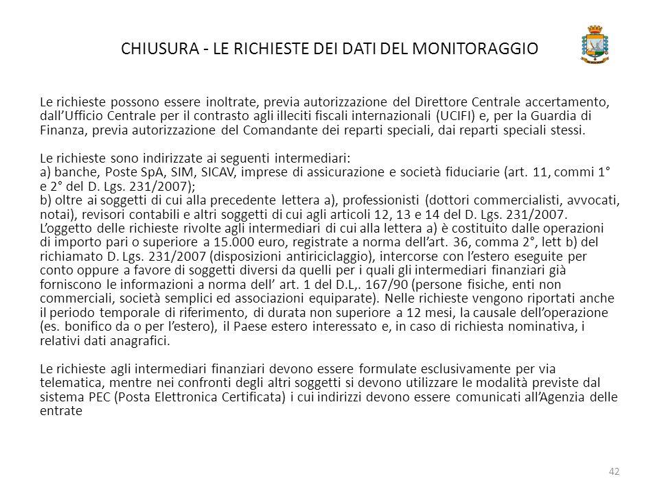 CHIUSURA - LE RICHIESTE DEI DATI DEL MONITORAGGIO