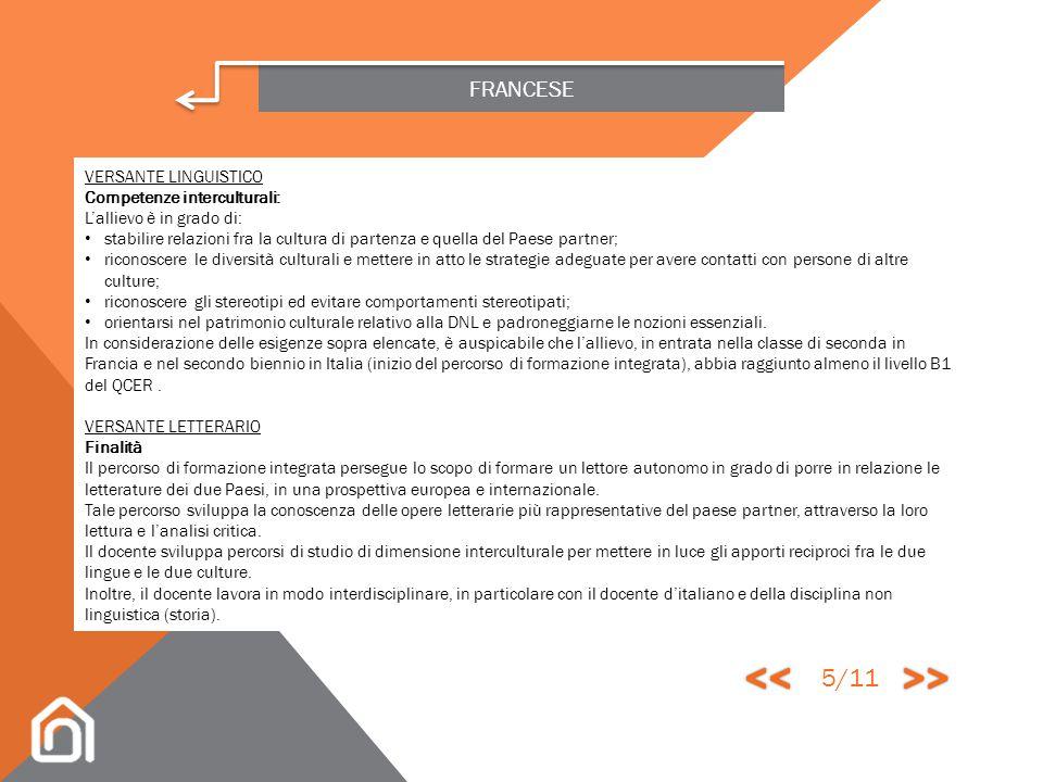 << >> 5/11 FRANCESE VERSANTE LINGUISTICO