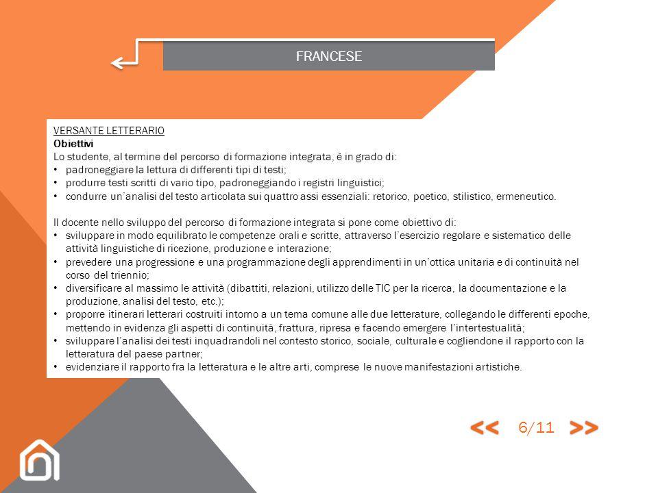 << >> 6/11 FRANCESE VERSANTE LETTERARIO Obiettivi