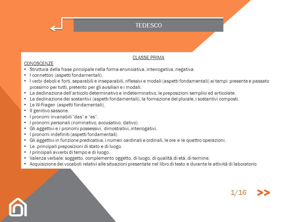 >> 1/16 TEDESCO CLASSE PRIMA CONOSCENZE