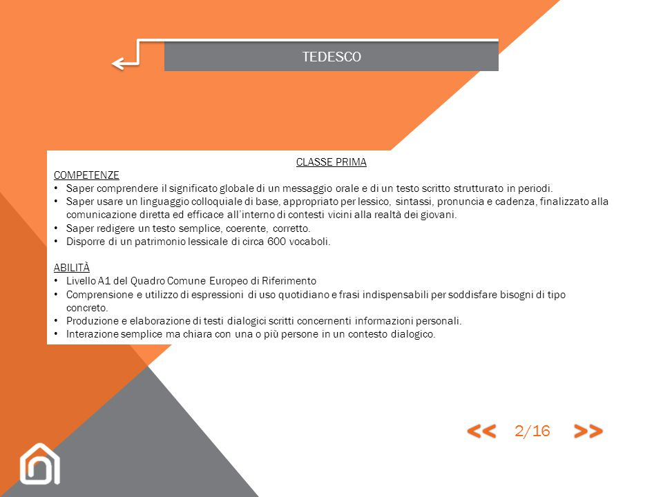 << >> 2/16 TEDESCO CLASSE PRIMA COMPETENZE