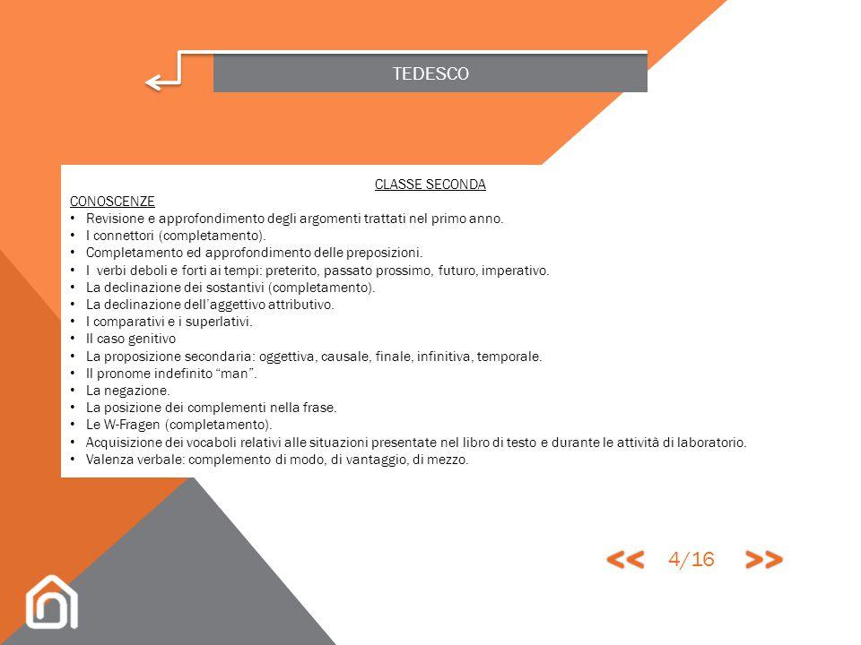 << >> 4/16 TEDESCO CLASSE SECONDA CONOSCENZE