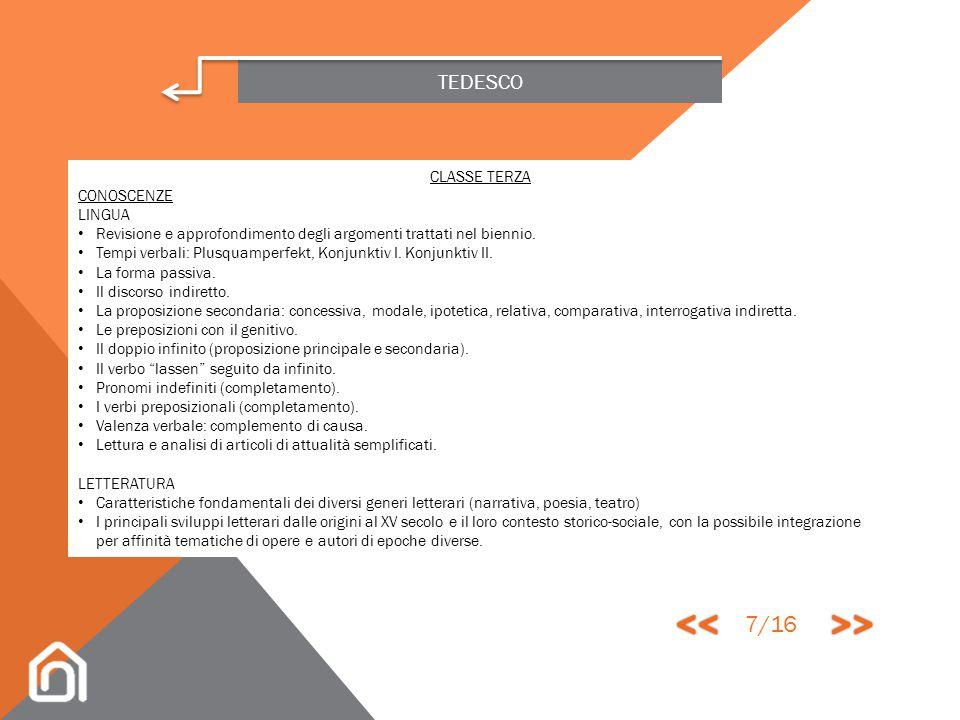 << >> 7/16 TEDESCO CLASSE TERZA CONOSCENZE LINGUA