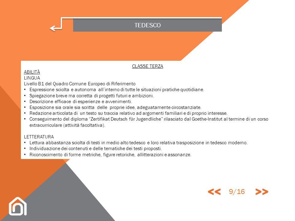 << >> 9/16 TEDESCO CLASSE TERZA ABILITÀ LINGUA