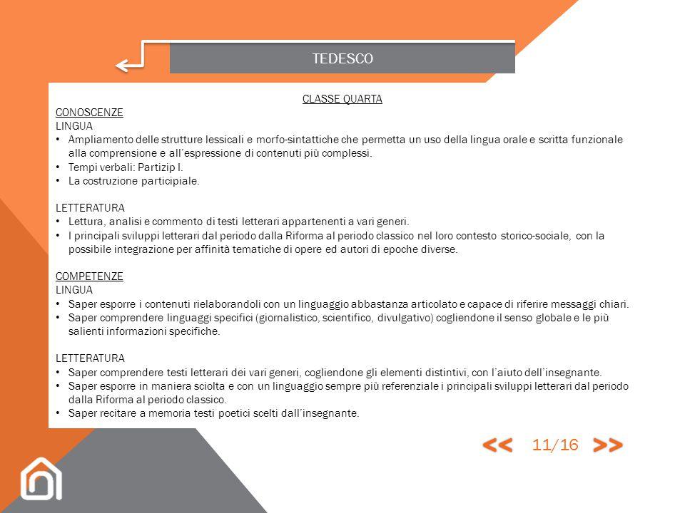 << >> 11/16 TEDESCO CLASSE QUARTA CONOSCENZE LINGUA