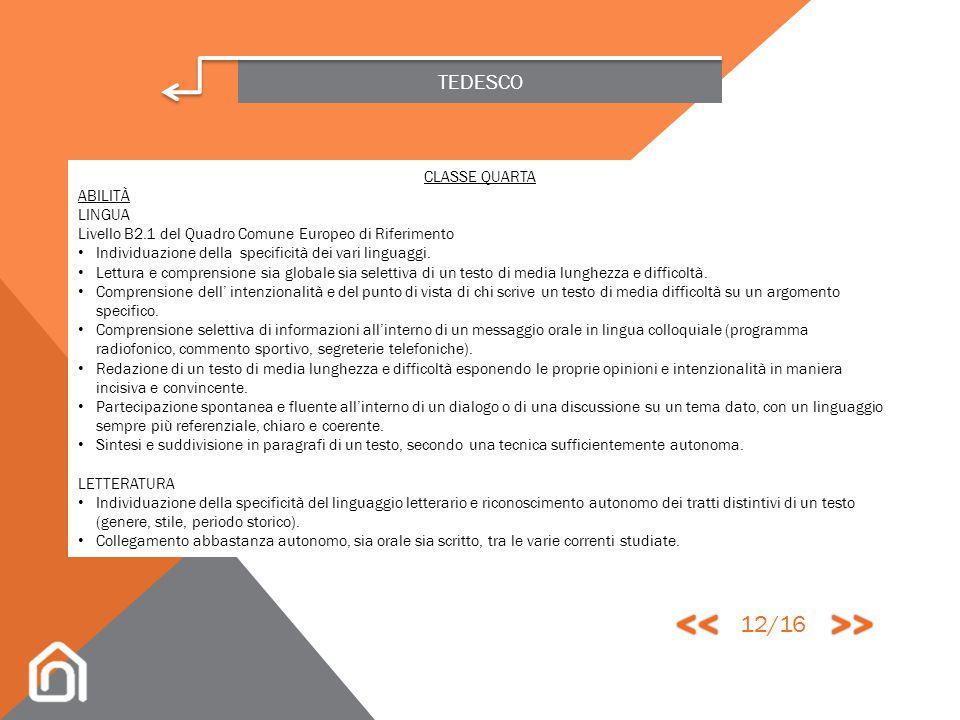 << >> 12/16 TEDESCO CLASSE QUARTA ABILITÀ LINGUA