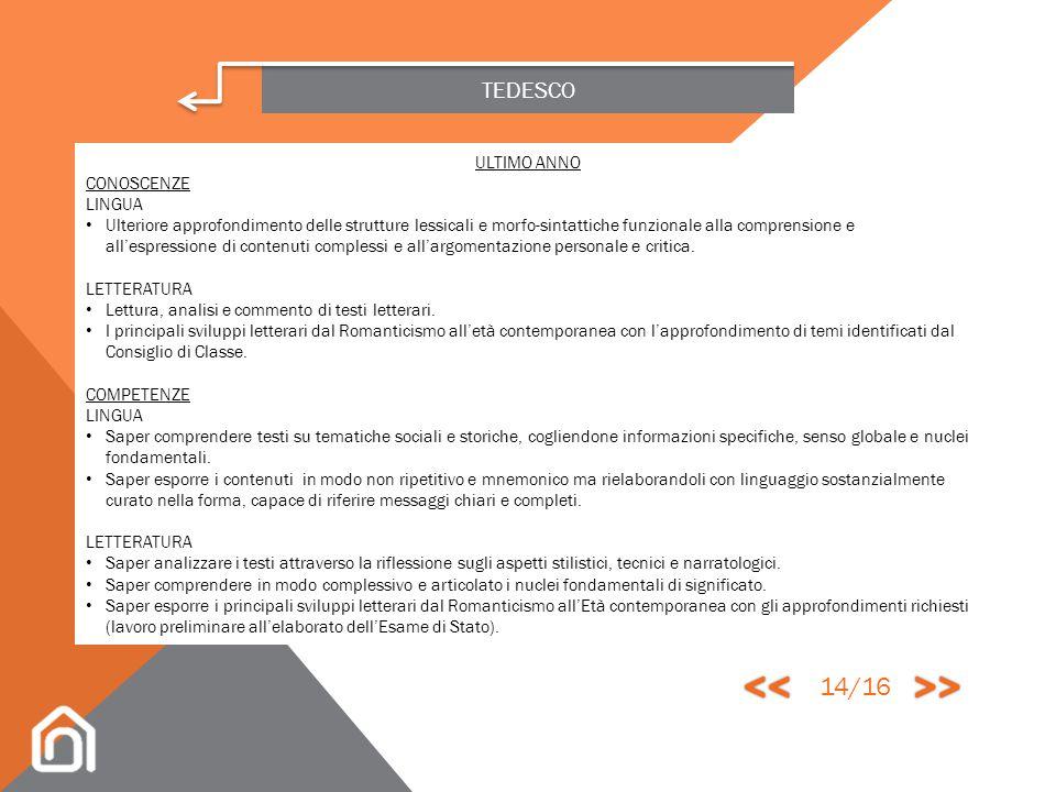 << >> 14/16 TEDESCO ULTIMO ANNO CONOSCENZE LINGUA