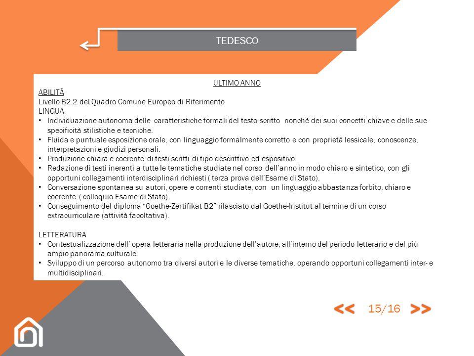 << >> 15/16 TEDESCO ULTIMO ANNO ABILITÀ