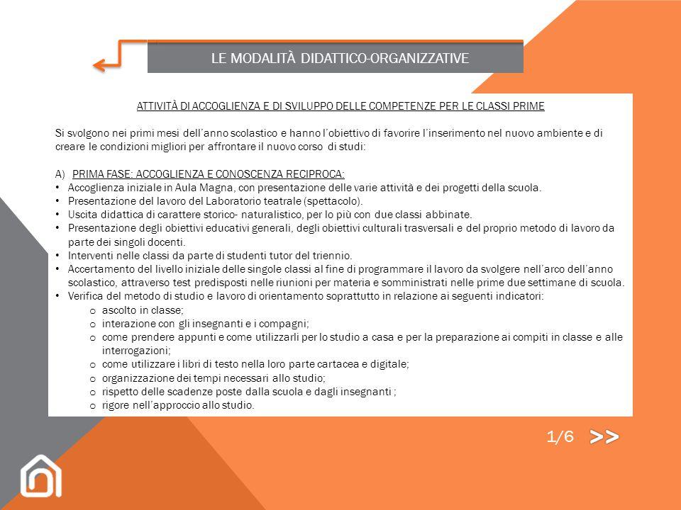 >> 1/6 LE MODALITÀ DIDATTICO-ORGANIZZATIVE