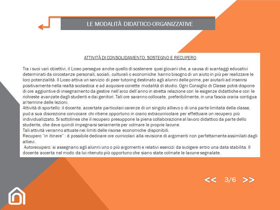 << >> 3/6 LE MODALITÀ DIDATTICO-ORGANIZZATIVE