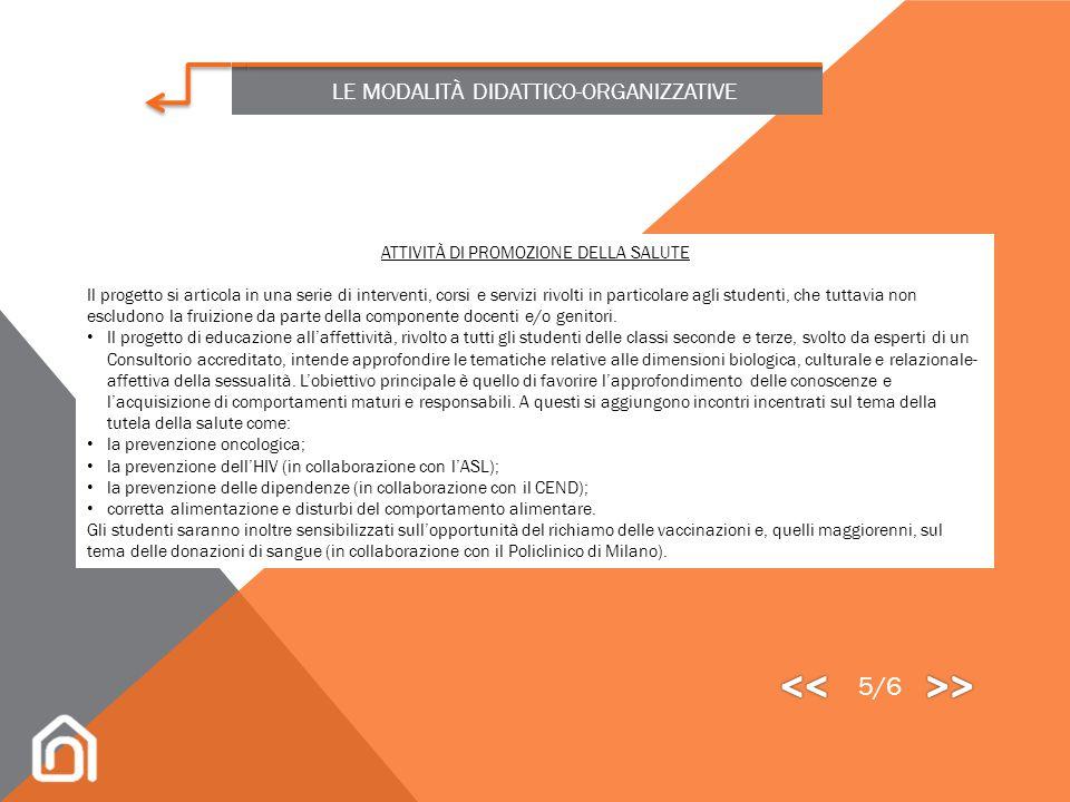 << >> 5/6 LE MODALITÀ DIDATTICO-ORGANIZZATIVE