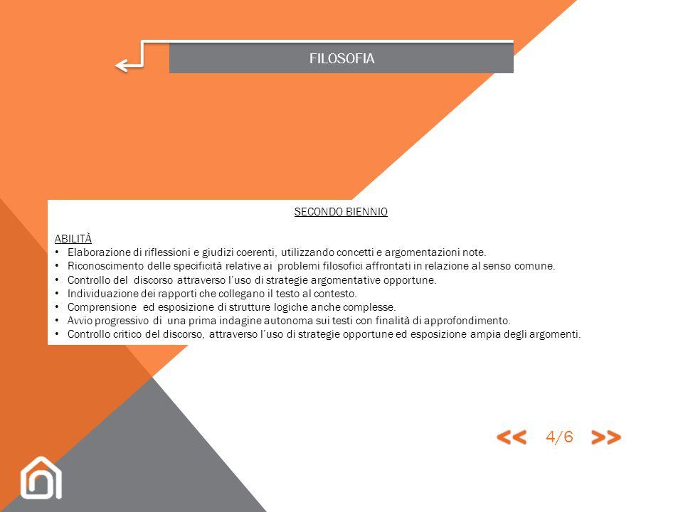 << >> 4/6 FILOSOFIA SECONDO BIENNIO ABILITÀ