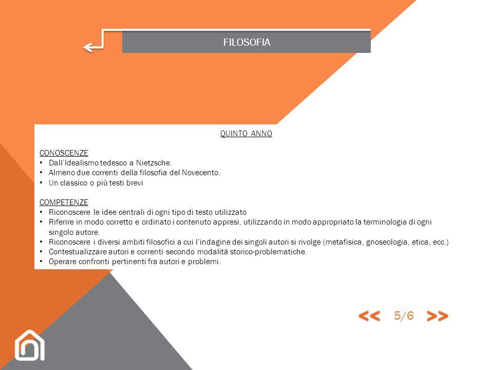 << >> 5/6 FILOSOFIA QUINTO ANNO CONOSCENZE