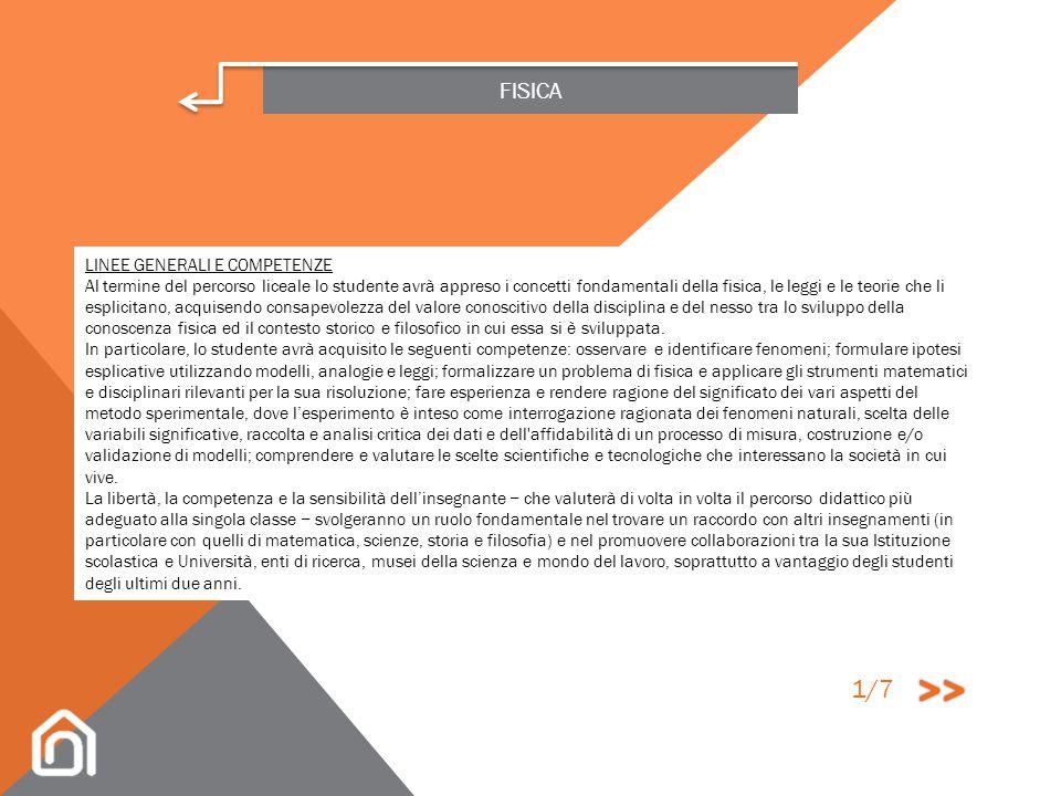 >> 1/7 FISICA LINEE GENERALI E COMPETENZE